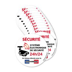 Lot de 12 autocollants Sécurité en liaison avec la gendarmerie