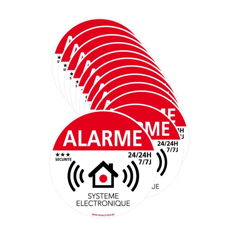 Lot de 12 adhésifs alarme avec présence d'un système électronique
