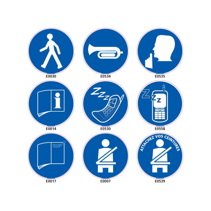 Panneaux d'OBLIGATION (telephone, ceinture, etc.)