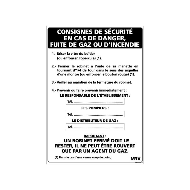 Panneau CONSIGNE EN CAS DE FUITE DE GAZ (A0321)