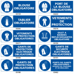 Signalisation d'obligation de protection du corps