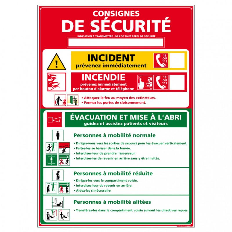 Panneau CONSIGNE DE SECURITE POUR LES HOPITAUX (A0322)