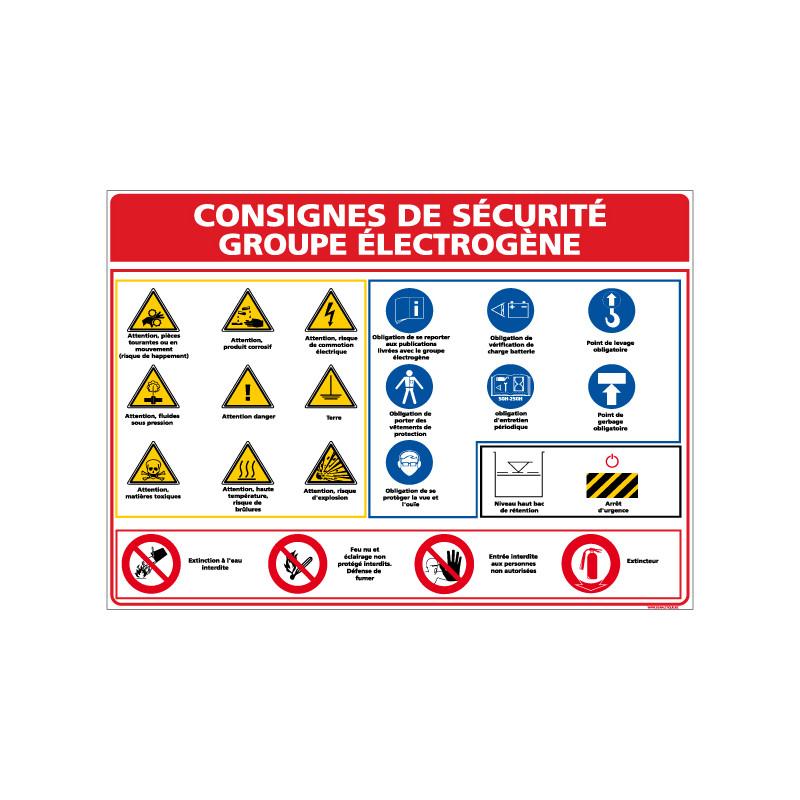 Panneau CONSIGNES GROUPE ELECTROGENE (A0328)