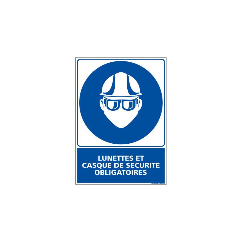 Panneau Obligation Lunettes et casque de securite obligatoires (E0346)