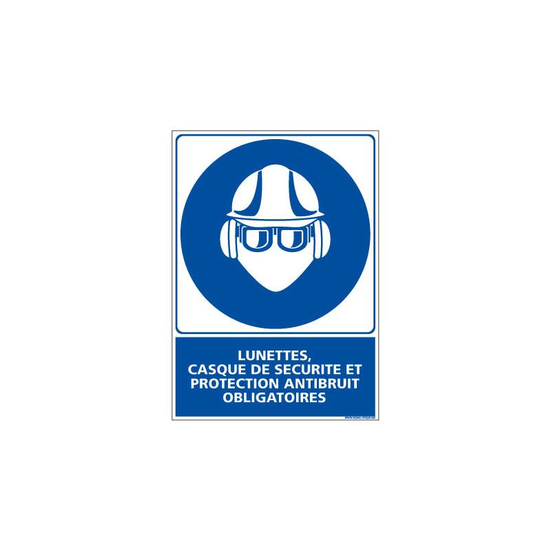 Panneau Lunettes casque de securite et protection antibruit obligatoires (E0347)