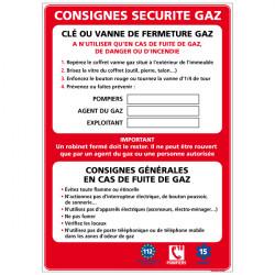 Panneau CONSIGNE DE SECURITE GAZ (A0335)