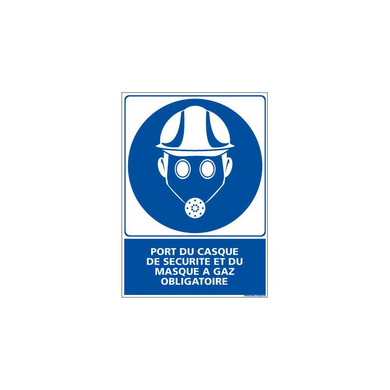 Panneau Obligation PORT DU CASQUE ET MASQUE A GAZ OBLIGATOIRE (E0367)