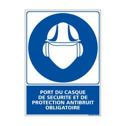Panneau Obligation PORT DU CASQUE DE SECURITE & PROTECTION ANTIBRUIT OBLIGATOIRE (E0370)