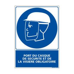Panneau Obligation PORT DU CASQUE DE SECURITE & VISIERE OBLIGATOIRE (E0371)