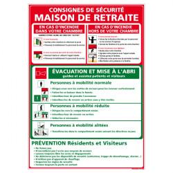 Panneau CONSIGNES DE SECURITE DANS LES MAISONS DE RETRAITE (A0344)