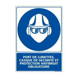 Panneau Obligation PORT DES LUNETTES, CASQUE, PROTECTION ANTIBRUIT OBLIGATOIRE (E0384)