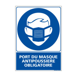 Panneau Obligation PORT DU MASQUE ANTIPOUSSIERE OBLIGATOIRE (E0388)
