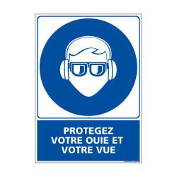 Panneau Obligation PROTEGEZ VOTRE OUIE ET VOTRE VUE (E0406)