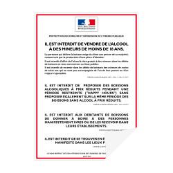 Sticker d'affichage obligatoire Vente d'alcool interdite aux mineurs