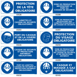 Signalisation d'obligation de protection de la tete