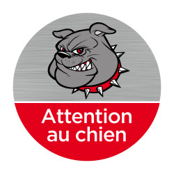 Plaque de porte aluminium Attention au chien