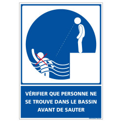 PANNEAU VERIFIER QUE PERSONNE NE SE TROUVE DANS LE BASSIN AVANT DE SAUTER (E0648)