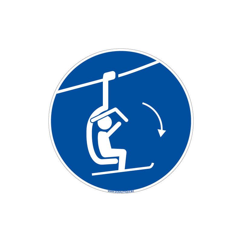 PANNEAU OBLIGATION DE BAISSER LA BARRE DE SECURITE DU TELESIEGE (E0687)