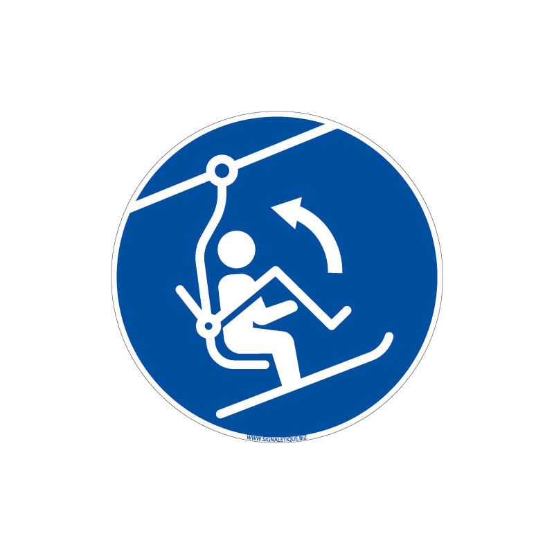 PANNEAU OBLIGATION DE REMONTER LA BARRE DE SECURITE DU TELESIEGE (E0695)
