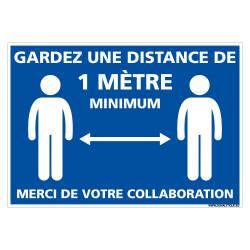 PANNEAU GESTES BARRIERES COVID19 - GARDEZ UNE DISTANCE DE 1 M MINIMUM - MERCI DE VOTRE COLLABORATION (E0703)