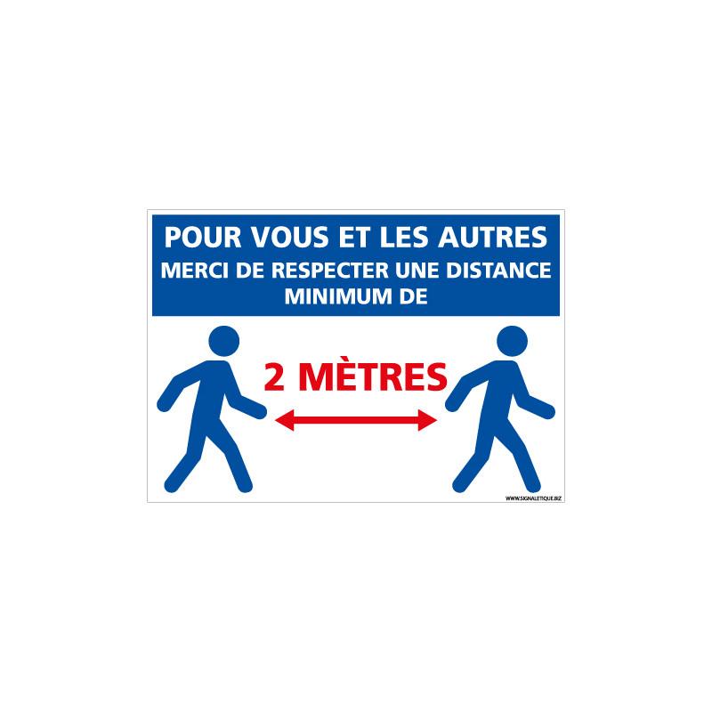 PANNEAU SPECIAL CORONAVIRUS - MESURE DE DISTANCES POUR VOTRE SECURITE ET CELLE DES AUTRES PERSONNALISABLE (E0706-PERSO)