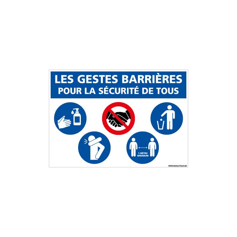 PANNEAU GESTES BARRIERES COVID-19 - POUR LA SECURITE DE TOUS (E0707)