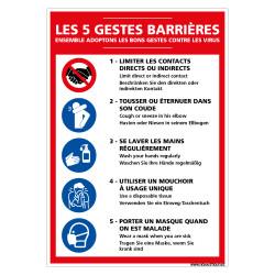 PANNEAU DES 5 GESTES BARRIERES CONTRE LE CORONAVIRUS (E0710)