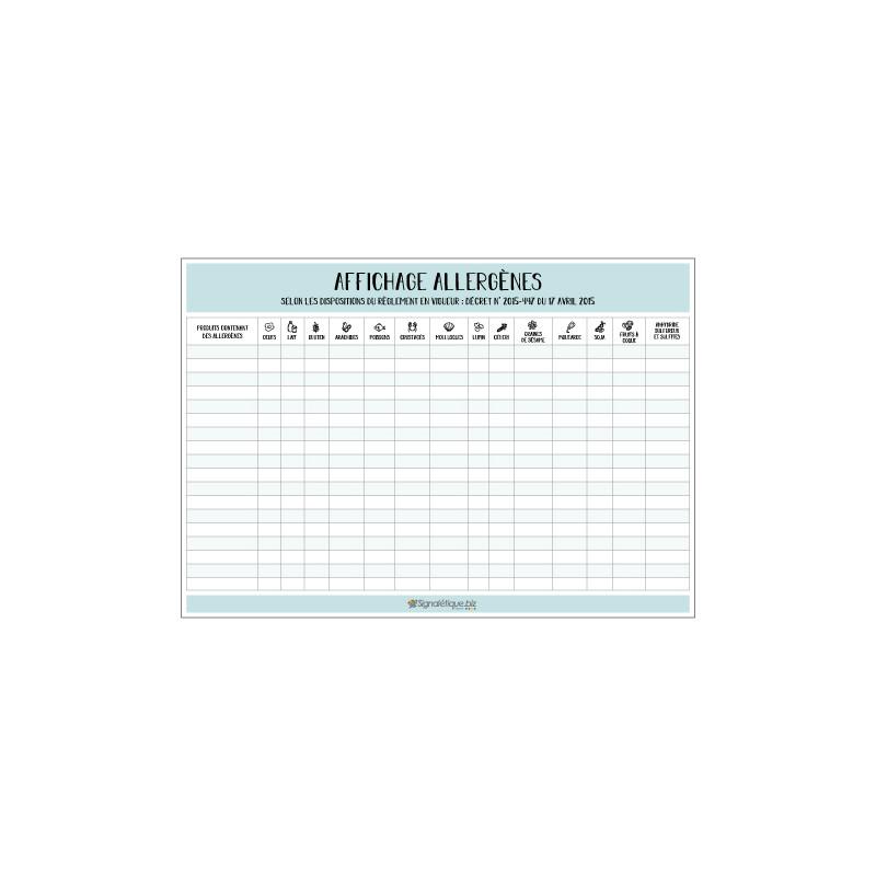 Panneau d'affichage obligatoire des allergenes (G1286)