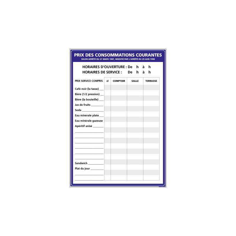 AFFICHAGE PRIX DES CONSOMMATIONS COURANTES (G1305)