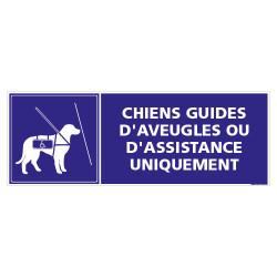 PANNEAU LES CHIENS GUIDES D'AVEUGLES OU D'ASSISTANCE UNIQUEMENT (G1465)