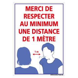 PANNEAU PREVENTIF POUR LES RISQUES COVID-19 - MERCI DE RESPECTER AU MINIMUM UNE DISTANCE DE 1M (E0713)