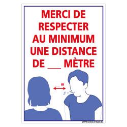 PANNEAU DE SECURITE SPECIAL CORONAVIRUS - MERCI DE RESPECTER UNE DISTANCE MINIMALE DE SECURITE - DISTANCE PERSONNALISABLE (E0713
