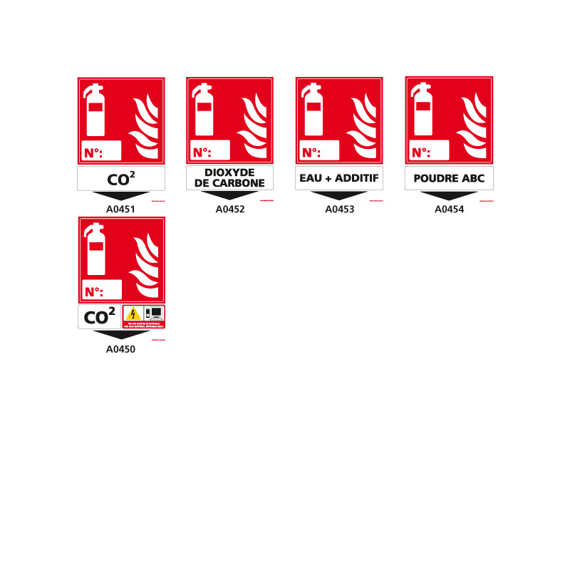 Panneaux Types d'extincteur