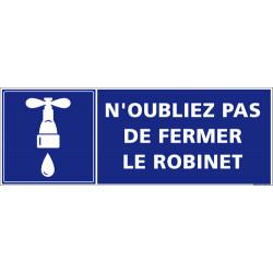 Panneau n'oubliez pas de fermer le robinet (G1101)