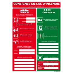 CONSIGNES EN CAS D'INCENDIE - EVACUATION (A0511)