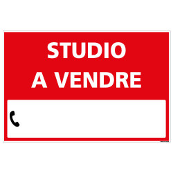 PANNEAU IMMOBILIER STUDIO A VENDRE AKYLUX 3,5mm - 600x400mm - LIVRE AVEC UNE PLANCHE DE CHIFFRES (G1329)