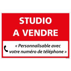 PANNEAU IMMOBILIER STUDIO A VENDRE A PERSONNALISER AKYLUX 3,5mm - 600x400mm (G1329_PERSO)