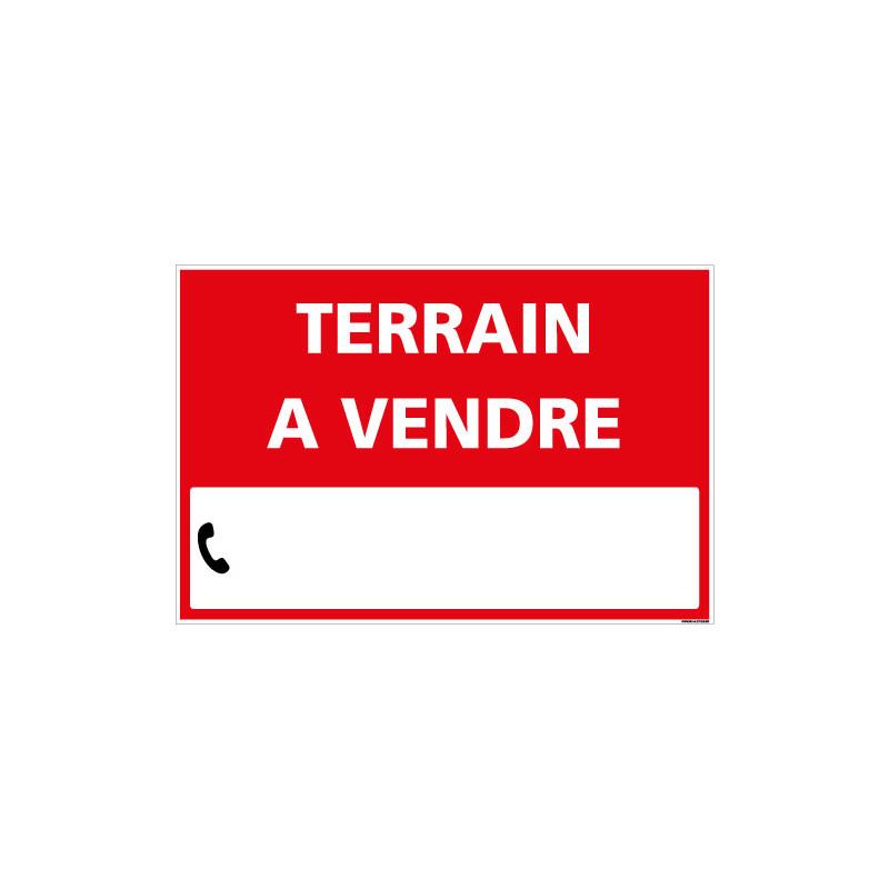 PANNEAU IMMOBILIER TERRAIN A VENDRE AKYLUX 3,5mm - 600x400mm - LIVRE AVEC UNE PLANCHE DE CHIFFRES (G1331)