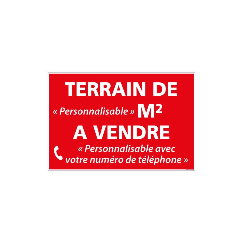 PANNEAU IMMOBILIER TERRAIN A VENDRE PERSONNALISABLE AKYLUX 3,5mm - 600x400mm (G1333_PERSO)