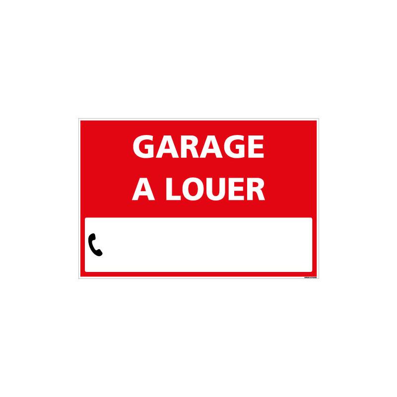 PANNEAU IMMOBILIER GARAGE A LOUER AKYLUX 3,5mm - 600x400mm - LIVRE AVEC UNE PLANCHE DE CHIFFRES(G1334)