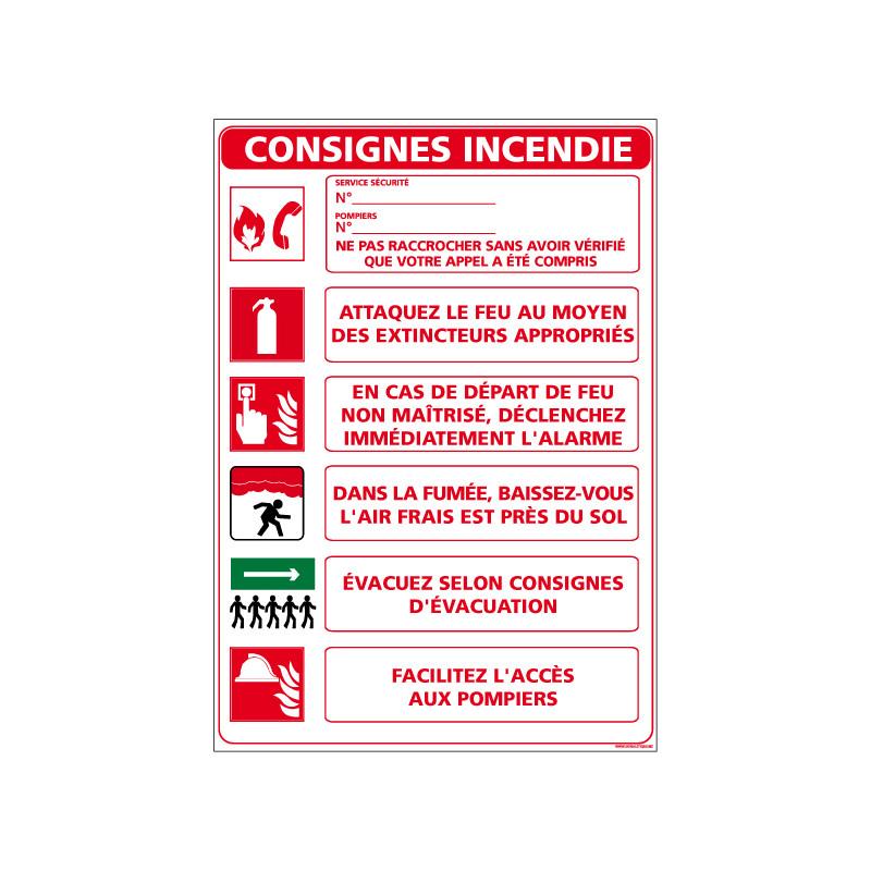 Panneau CONSIGNES INCENDIE (A0530)