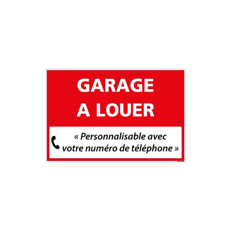 PANNEAU IMMOBILIER GARAGE A LOUER A PERSONNALISER AKYLUX 3,5mm - 600x400mm (G1334_PERSO)