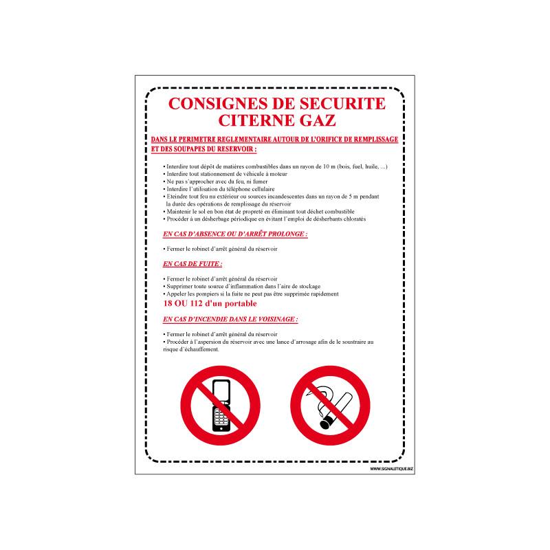 Panneau CONSIGNES DE SECURITE CITERNE GAZ (A0532)
