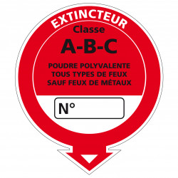 Adhesif Extincteur Classe A-B-C (A0538)
