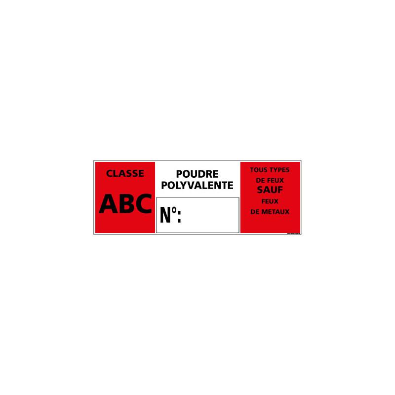 """Panneau Signalisation Incendie """"CLASSE ABC - POUDRE POLYVALENTE (A0544)"""