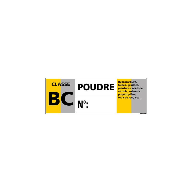 Panneau Signalisation Incendie CLASSE BC - POUDRE (A0546)