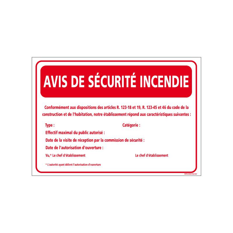 Avis de securite incendie (A0548)