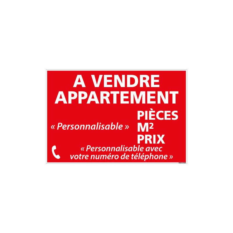 PANNEAU IMMOBILIER APPARTEMENT A VENDRE PERSONNALISABLE AKYLUX 3,5mm - 600x400mm (G1357_PERSO)