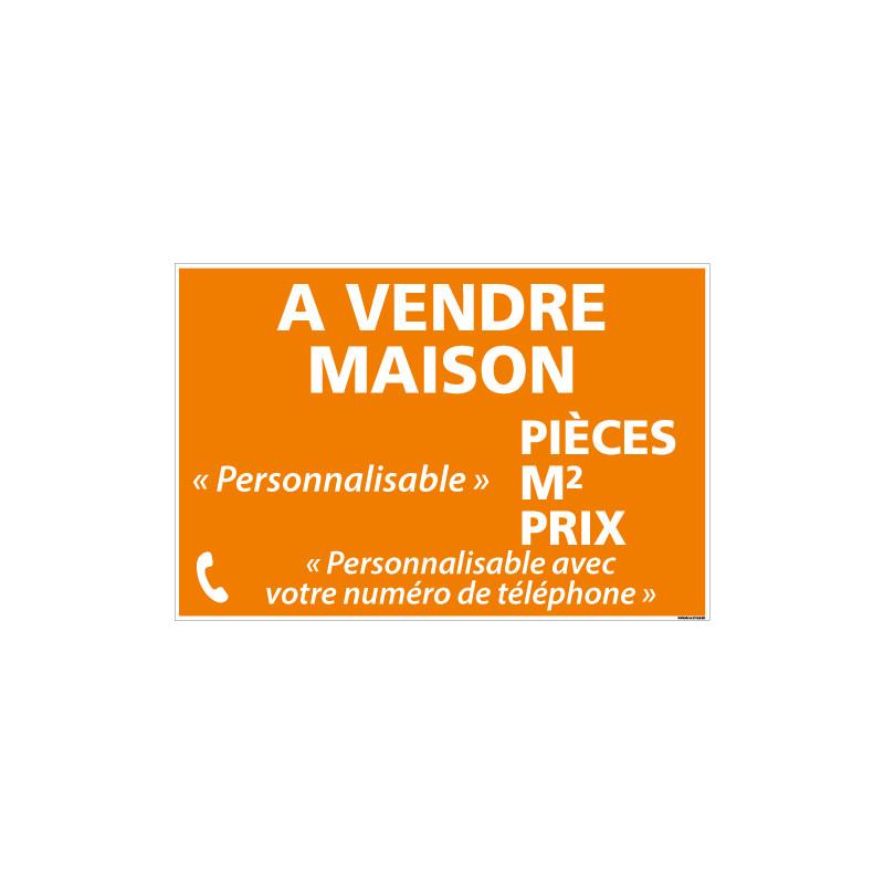 PANNEAU IMMOBILIER MAISON A VENDRE PERSONNALISABLE AKYLUX 3,5mm - 600x400mm (G1359_PERSO)