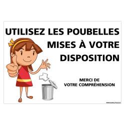 PANNEAU MERCI D'UTILISER LES POUBELLES MISES A VOTRE DISPOSITION - FILLE (G1455)
